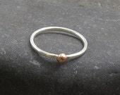Sterling Silver Stacking Ring with Copper Dot