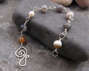 Bracelet - Botswana Agate, Pearl, and Sterling Silver