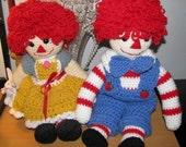 Crocheted Rag Doll Pair
