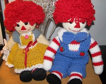 Crocheted Rag Doll Pair