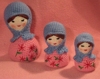 Crocheted Matryoshka Babushka Dolls