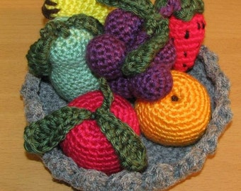 Crocheted Fruits with Crocheted Bowl