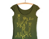 SALE Partridge, Folkloric Design, Olive Scoop Neck Tee, Hand Screen Printed by Maryink