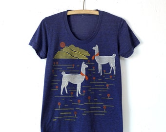 SALE Llama Shirt, Graphic Shirt for Women, Hand Screen Printed, Cross Stitch Design, Screen Print, Tri Blend