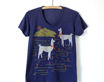 Llama Shirt, Graphic Shirt for Women, Hand Screen Printed, Cross Stitch Design, Screen Print, Tri Blend