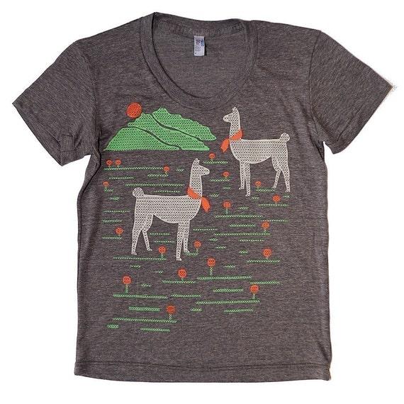Llamas T-Shirt in Heather Brown Sizes S/M/L/XL