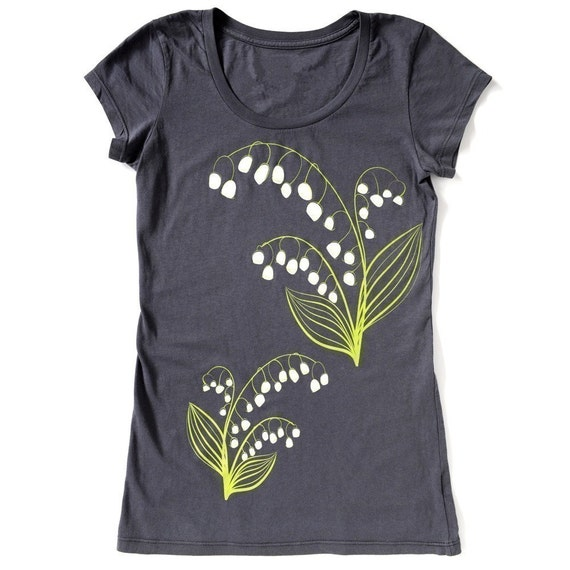 Lily of the Valley, Graphic Tee Slate Grey, Hand Screen Printed T Shirt by Maryink