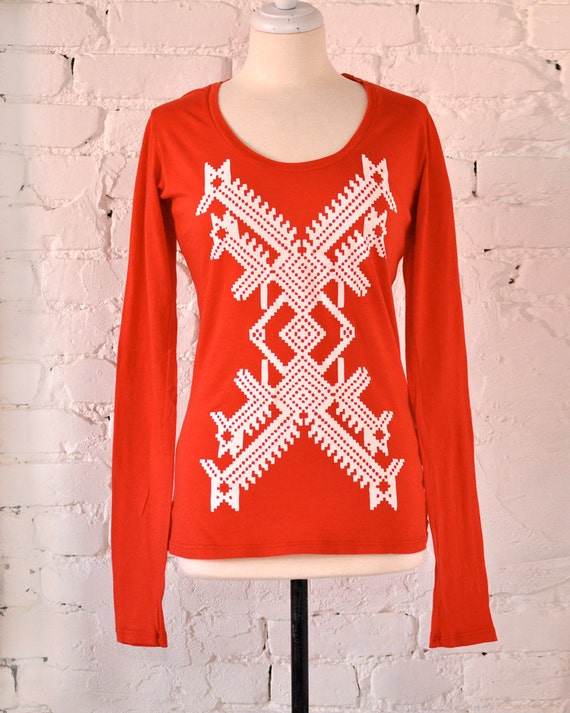 SALE Organic Long Sleeved Graphic Tee by Maryink X Design on Tomato Red