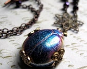 SALE Peacock Blue Glass Scarab Beetle Necklace
