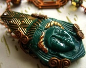Green Glass Egyptian Revival Pharaoh Necklace