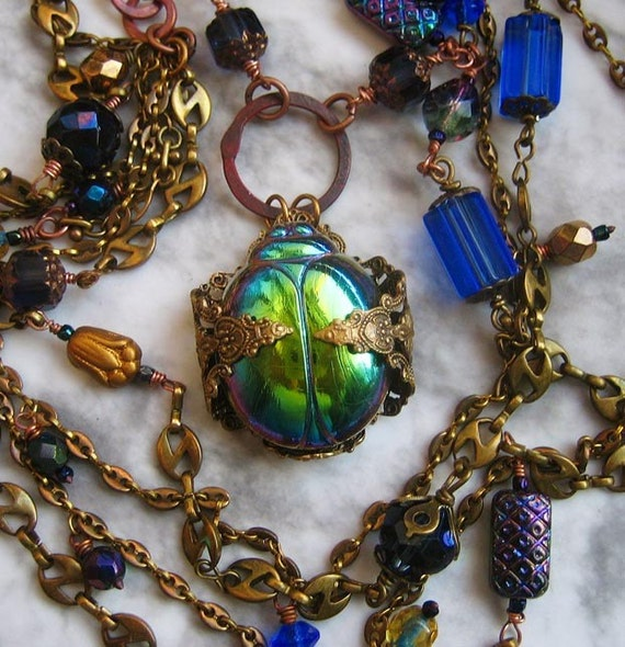 Egyptian Revival Scarab Beetle Necklace and Earrings