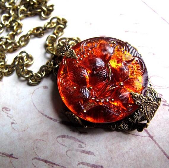 Glowing Orange Fire Dimensional Textured Czech Glass Button Flower Filigree Necklace