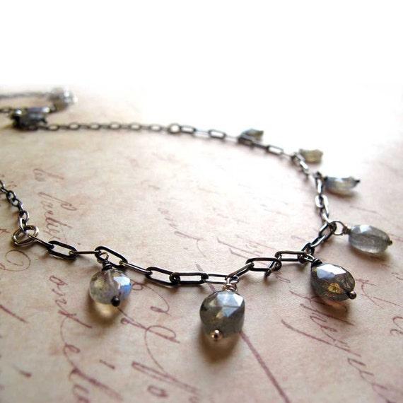 Labradorite Tears Oxidized Sterling Silver Gemstone Necklace