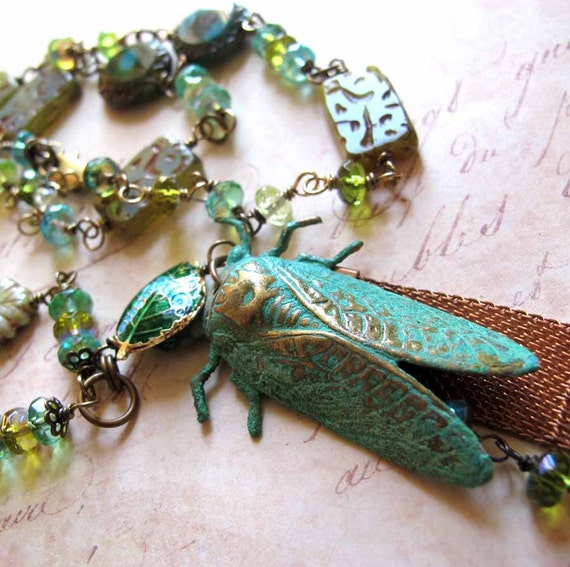 Green Cicada Bug Insect Necklace, Verdigris Cicada Statement Necklace, Painted Metal Cicada Glass Bead Assemblage OOAK Necklace