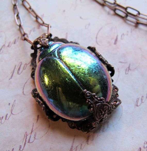 Peacock Blue Green Scarab Beetle Iridescent Necklace