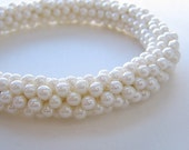 Reserved for kluhler - spiral beaded bracelet - pearl