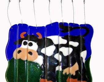 Dairy Cow Fused Glass Windchime Suncatcher