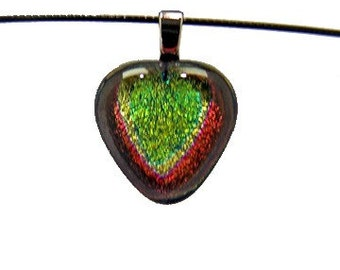 Heart Shaped Fused  Dichroic Glass Pendant and Choker