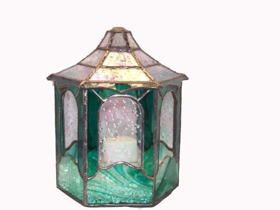 Gazebo Terrarium Stained Glass Candle Shelter