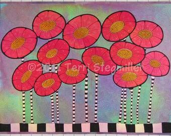Doodle Poppies - Art Quilt