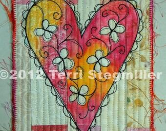 Mini Quilt - Heart 8
