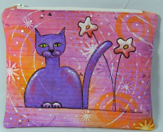 Hand Painted Quilted Cat Pouch