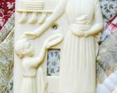 50's Hartland Plastics Madonna of the Kitchen Light Switch Plate, Like New, Ivory, Christian