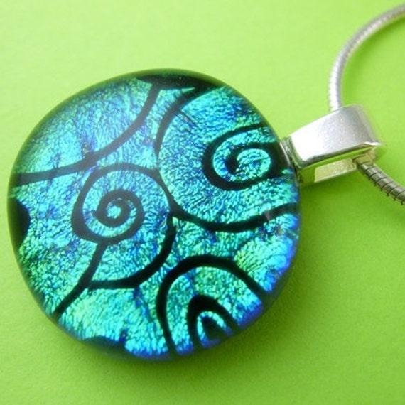 Blue-Green Shift Spiral Dichroic Glass Circle Pendant