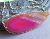Pink Agate Slice Necklace on Silver Chain