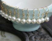 Bridesmaid GIFT SET  Pearl Earrings  - Six Earring Pairs - Swarovski Crystal Pearl on 14k Gold Fill, Pearl Bridesmaid Earrings