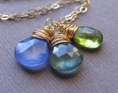 Gold Wire wrapped Gemstone Necklace - Three Birthstones - Choose your Custom Stone Colors - 14K Gold Fill, Birthstone Necklace