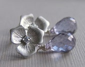 Silver Crystal Flower Post Earrings, Flower Bridal Earrings, Wedding Jewelry, Custom Color Gemstone Available - Spring, Summer Wedding