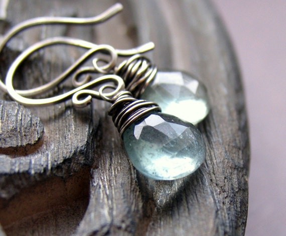 Moss Aquamarine Wire Wrapped Earrings - Sterling Silver, Wire Wrapped Briolette Stones, March Birthstone, March Birthday