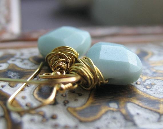 Sky Blue Amazonite Earrings, 14k gold fill ear wire, Golden brass wire wrapped stones, short dangle earrings, simple, everyday