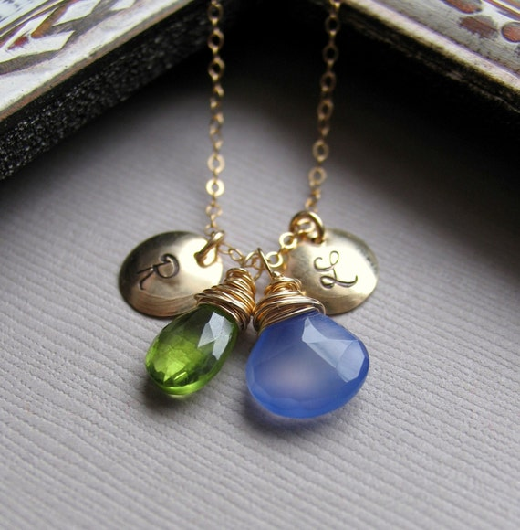 Personalized Birthstone Necklace, Two Initial Charms, Two Custom Stones with Two Letters, 14k Gold Fill shown with Cobalt Blue and Peridot