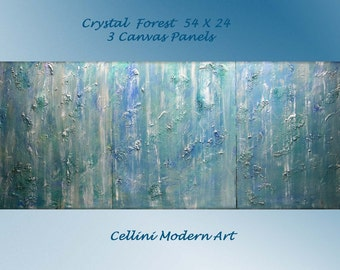 Original CUSTOM Large Abstract Landscape Paintings Crystal Rain  54 x 24 Gallery Wrapped Canvas