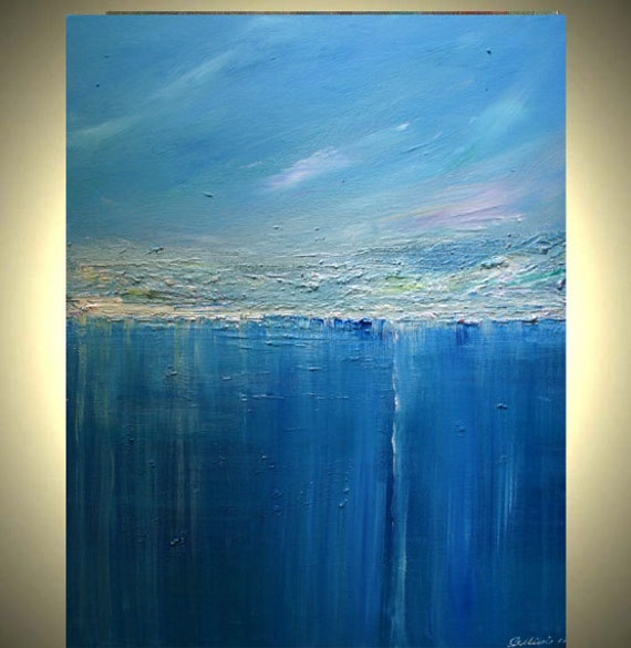 Blue Abstract Painting Seascape Art Reflections Of