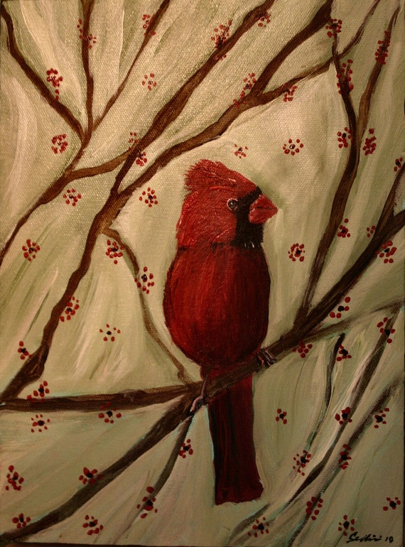 Original Art  Baby Cardinal Painting Gallery Canvas  8X10X1.5 inches thick