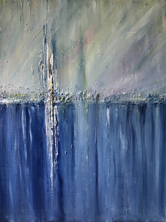 Original Abstract Painting Palette Knife Art Painting  Pastel Colors Searching for the Light 2