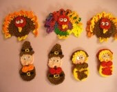 Crocheted Thanksgiving Day Applique, Embellishment, Earrings, Magnet or Pin - Turkey or Pilgrims