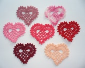 Crocheted Lacy Heart Appliques or Earrings  - Style 1 - Choose Your Colors