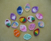 Crocheted Easter or Spring Egg Appliques, Embellishments or Earrings - Your choice of design and Colors