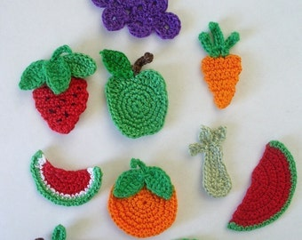 Crocheted Fruit and Vegetable Appliques, Embellishments, Earrings, Magnets, Pins