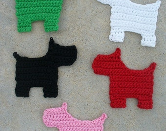 Hand Crochet Scotty Dog Appliques - Take 2 of them and Choose your Colors