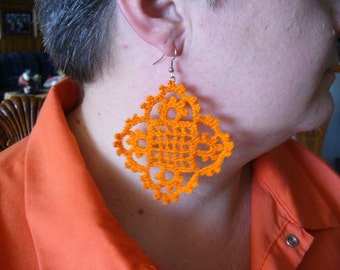 Diamondy Delight Earrings, Hand Crochet - Choose Your Colors
