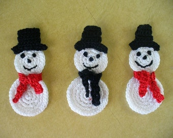 Take 2 Snowman Appliques, Hand Crochet - Choose your colors for scarf and hat