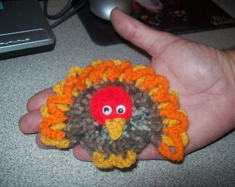 Crocheted Thanksgiving Day Turkey Applique, Brooch or Magnet