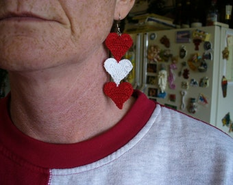 Crocheted Dangling Heart Earrings - Your Choice of Colors and Ear Wires