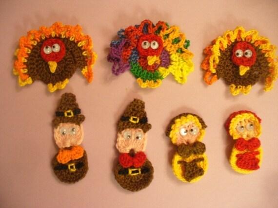 Crocheted Thanksgiving Day Applique, Embellishment, Earrings, Magnet or Pin - Turkey or Pilgrims