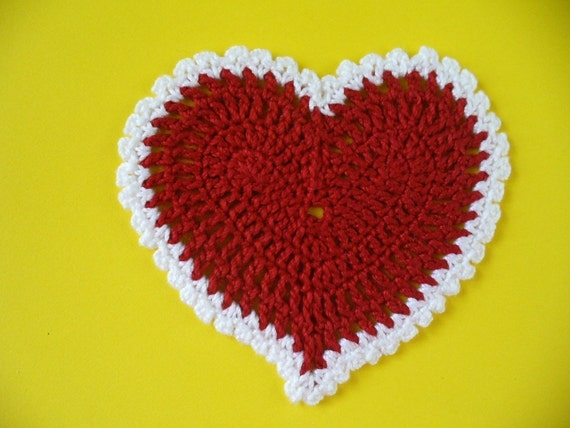 2 Large Valentine Heart Appliques, Hand Crochet - Choose your Colors